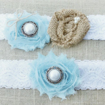 Something Blue. Burlap and Lace Wedding Garter Set, Rustic Bridal accessory, Country Wedding Accessories, Burlap Garter, Blue Garter, Bridal
