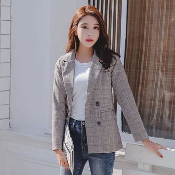 new arrival fashion women high quality plaid slim blazers temperament elegant vintage work style trend wild blazers suit jacket