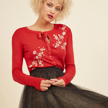 Top to Blossom Floral Cardigan in Cherry | Mod Retro Vintage Sweaters | ModCloth.com