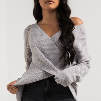 AKIRA Black Label Long Sleeve Mid-weight Knit Wrap Front Sweater in Heather Grey
