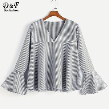 V Neckline Fluted Sleeve Gingham Top Black And White Plaid Tunic Top Woman Autumn Long Sleeve Blouse