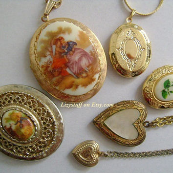 12 Pcs Lot of Vtg Jewelry Accessories Gold Tone Victorian Hearts & Large Oval Shaped Cameo Locket Pendants/Necklaces Variety of Styles/Sizes
