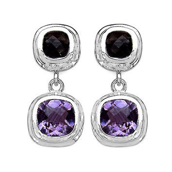 6.70 Carat Genuine Amethyst & Smoky Topaz .925 Sterling Silver Earrings