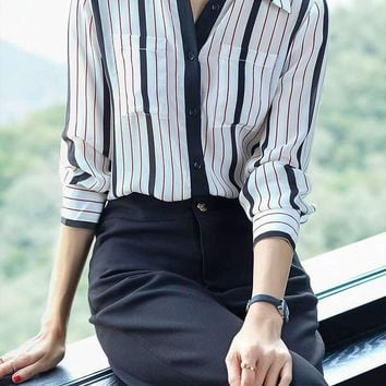 Pounds Of Silk Shirts, Womens Long-Sleeves, Silk Blouses, Silk Satin Striped Silk Shirts