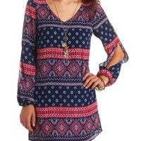 Scarf Print Long Sleeve Cold Shoulder Shift Dress - Blue Combo