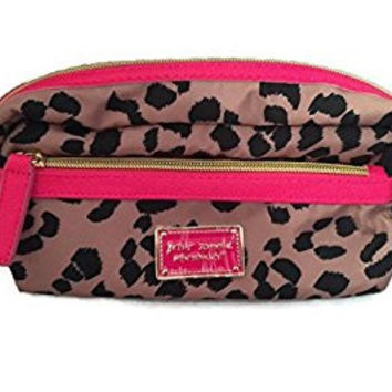 Betsey Johnson Cosmo 2 Zip Make Up Cosmetic Bag (Leopard/Pink)
