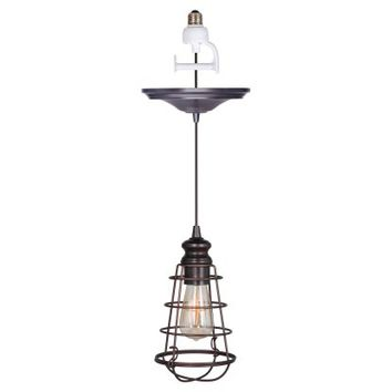 Worth Home Products Instant Screw In Pendant Light with Wire Cage Shade | Hayneedle