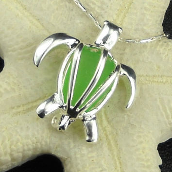 Sterling Turtle Jewelry GENUINE Green Sea Glass Locket Necklace