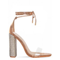 Perrie Rose Gold Clear Lace Up Diamante Heels : Simmi Shoes