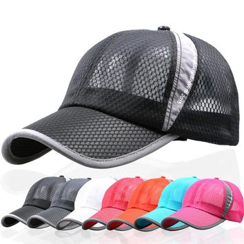 summer breathable mesh hat outdoor sports Women man Suede biker baseball Cap hats ladies black plain pink dad hat polo style