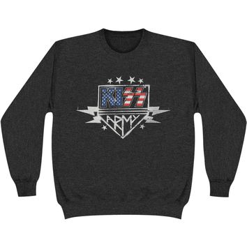 KISS Men's  Army Stencil Sweatshirt Heather Charcoal