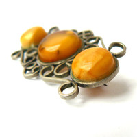 Vintage brooch with Baltic amber, Baltic amber, three stone, brooch with natural stone, antique jewelry, jewelry brooch