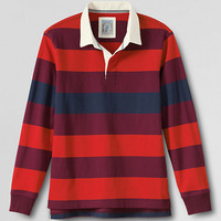 Men's Long Sleeve Striped Jersey Rugby Polo Shirt from Lands' End