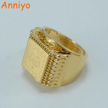 Anniyo Allah Ring  for Men Muhammad Rings Women Gold Color and Copper Arab/Islam Jewelry Islamists Charm Gifts #002402