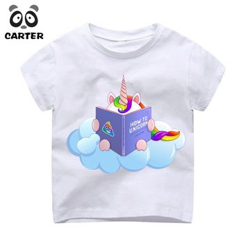 Boy/Girl Cartoon Funny Design Read The Book Rainbow Unicorn T shirts Kid Summer O Neck White Tshirt Children How to Unicorn Tops