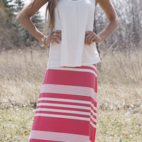 Maxi Skirt - Coral & Ivory