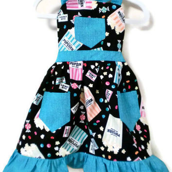 Girl's Popcorn Apron with Ruffled Hem, Sizes Large 7-8, XL 10-12