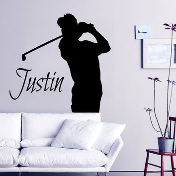 Golf Wall Decal Boy Personalized Name Stickers Golfer Vinyl Decals Sport Art Mural Home Bedroom Decor Interior Design Golf Player Decor KI9