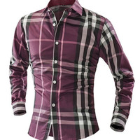 Plaid Turn-down Collar Long Sleeves Shirt