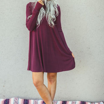 Long Sleeve Turtleneck Dress In Burgundy