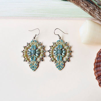 Micro macrame earrings, bohemian earrings, boho chic, sage pale green earrings, sea foam, delicate earrings, beaded earrings