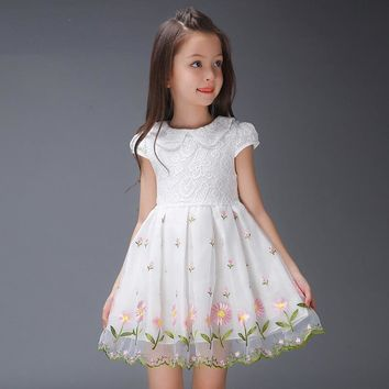 Big Girls Princess Dress Cotton Party Dresses For Girls Summer Fashion Costumes Brand Teenage Peter Pan Collar Dress 2-12Y