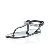 River Island Girls black gem barely there jelly sandals