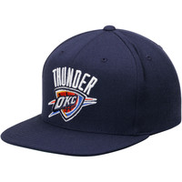 Men's Oklahoma City Thunder Mitchell & Ness Navy Current Logo Wool Solid Snapback Adjustable Hat