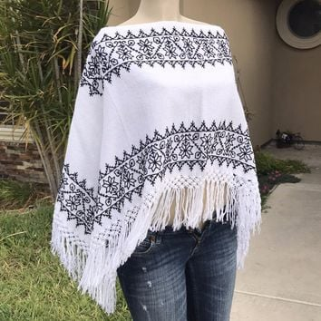 New Mexican Fringed Embroidered Poncho