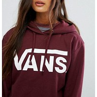 """VANS"" Fashion Women Men Casual Big Logo Print Hooded Pullover Tops Sweater Sweatshirts Wine Red I"