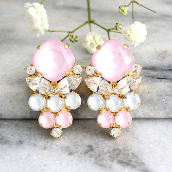 Pink Earrings, Powder Pink Earrings, Bridal Powder Pink Earrings, Pastel Earrings, Aqua Pink Earrings, Bridesmaids Earrings, Gift For Woman