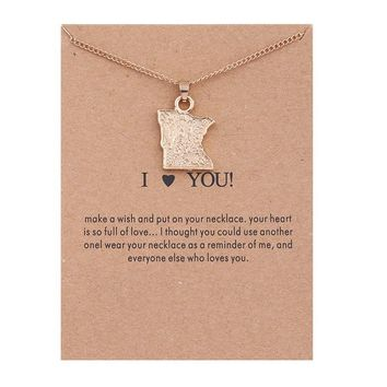 Minnesota Map Card Alloy Clavicle Pendant Necklace   171211