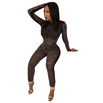 Women's Sexy Sparkly Long Sleeve Bandage Bodycon Clubwear Jumpsuit Romper
