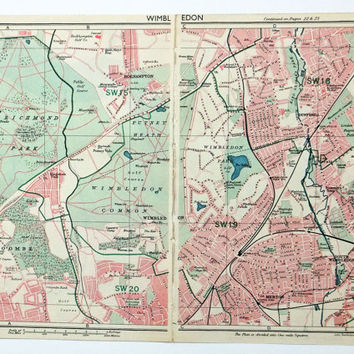 London Map, Map of Wimbledon, London, Gift for Tennis Fan, 1947 Map, Wimbledon Map
