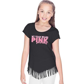 Girls Breast Cancer T-shirt My Team Wears Pink Fringe Tee