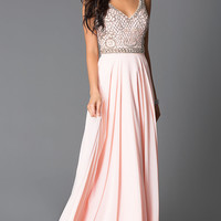 Long Rose Beaded Sleeveless V-Neck Prom Dress