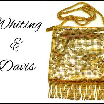 Vintage Gold Mesh Purse, WHITING & DAVIS Evening Bag, Shoulder Strap Beaded Fringe, Clutch Pocketbook, Black Tie New Years Eve Glam