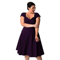 Summer Women Casual Dress Plus Size Elegant Vintage Solid Purple Black Knee-Length Evening Party Dresses