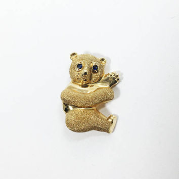 Vintage 14K Gold Bear Pin, Vintage Panda with Blue Topaz Eyes, National Symbol of China Figural Jewelry
