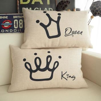 Cool Famous Brand The King The Queen Crown Cushion Covers Shabby Chic Coussin Home Decor Car Seats Rectangle Waist Scatter KussenhoesAT_93_12