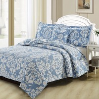 DaDa Bedding Enchanted Breeze Victorian Blue Damask Floral Quilted Bedspread Set (ElizabethBlue)