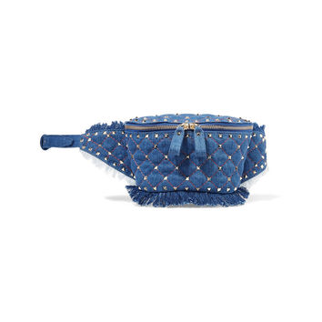 Valentino Rockstud Quilted Denim Belt Bag - ShopBAZAAR