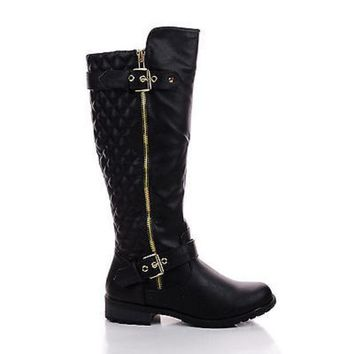 Knee High Quilted Buckle Riding Moto Boots