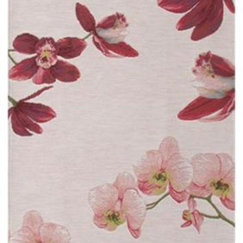 Pink Orchids White  French Table Runner