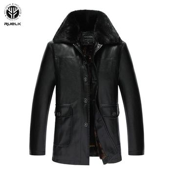 RUELK Quality Winter Men's Coat Warm Jacket Retro Men's Leather Jacket Plus Velvet Motorcycle Windproof PU Leather Brand Cloth