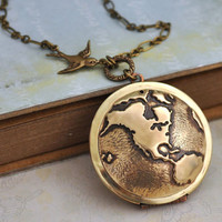 TRAVEL THE WORLD vintage brass locket necklace by plasticouture