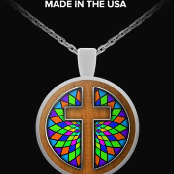Stained Glass with Cross - Necklace WoodenCrossStainedGlass-necklace
