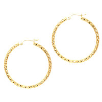 10K Yellow Gold Shiny Wavy Hoop Earrings