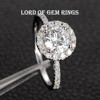 Round  Moissanite Engagement Ring Pave Moissanite Wedding 14K White Gold 6.5mm