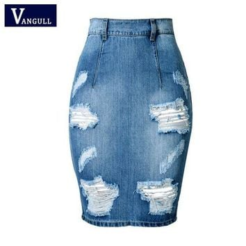 PEAP78W Hole Design Back Split Slim Bandage Skirts 2017 Fashion High Waist Vintage Skinny Mini Bodycon Pencil Women Denim Jeans Skirt